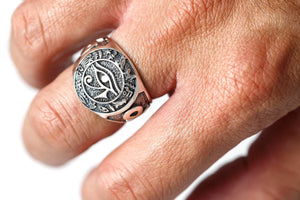 925 Sterling Silver Egypt Egyptian Hieroglyphs Eye of Horus Udjat Ankh Ring