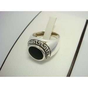 925 Sterling Silver Men's Round Onyx Greek Key Ring - SilverMania925