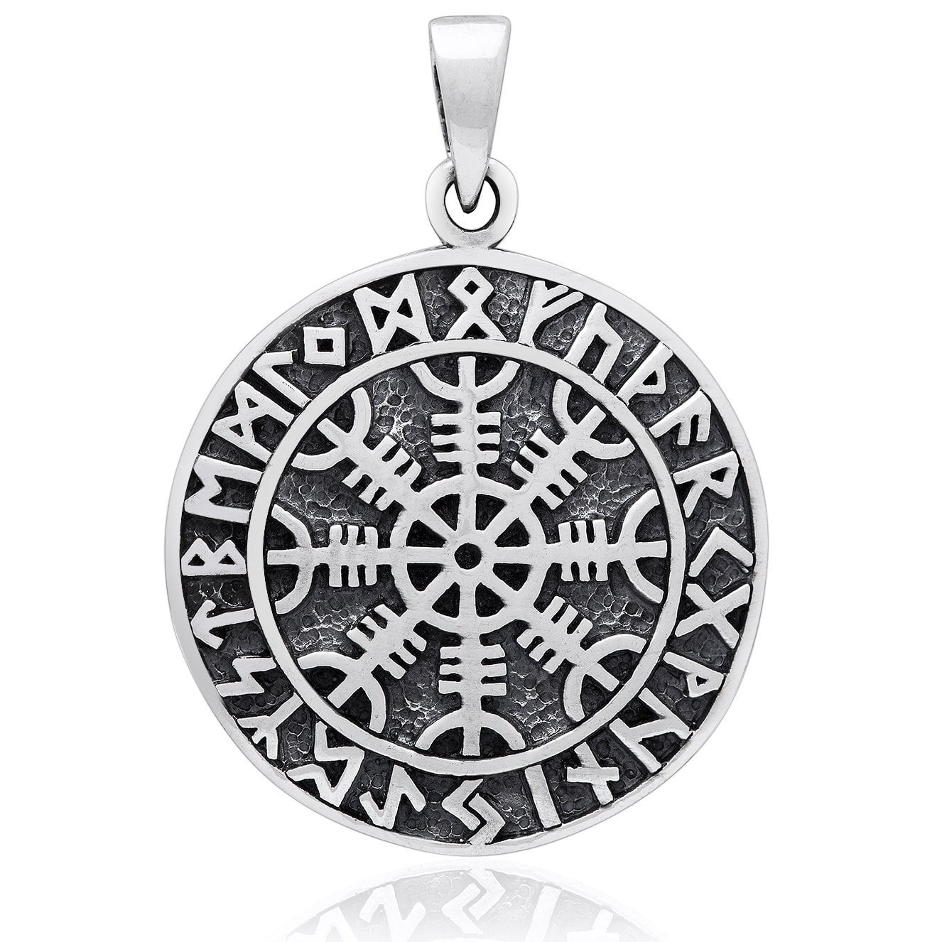 925 Sterling Silver Aegishjalmur Viking Helm of Awe Runes Pendant