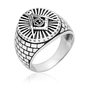 925 Sterling Silver Masonic Compass Signet Ring - SilverMania925