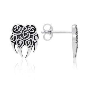 925 Sterling Silver Viking Bear Claw Earrings Set - SilverMania925