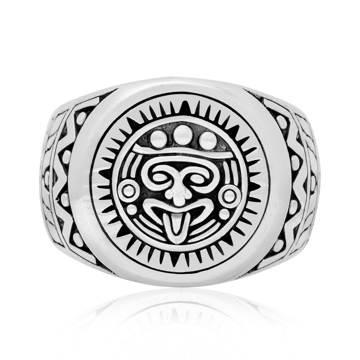 925 Sterling Silver Aztec Mayan Style Ring - SilverMania925