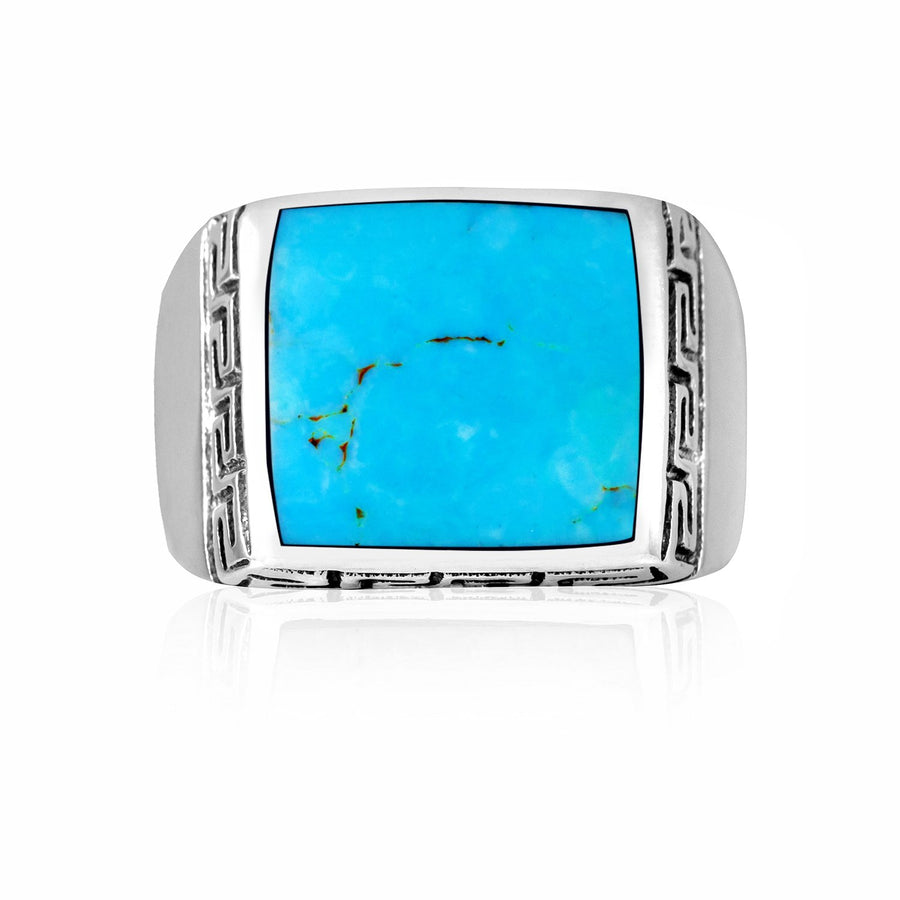 925 Sterling Silver Mens Turquoise Greek Key Meander Meandros Band Ring - SilverMania925