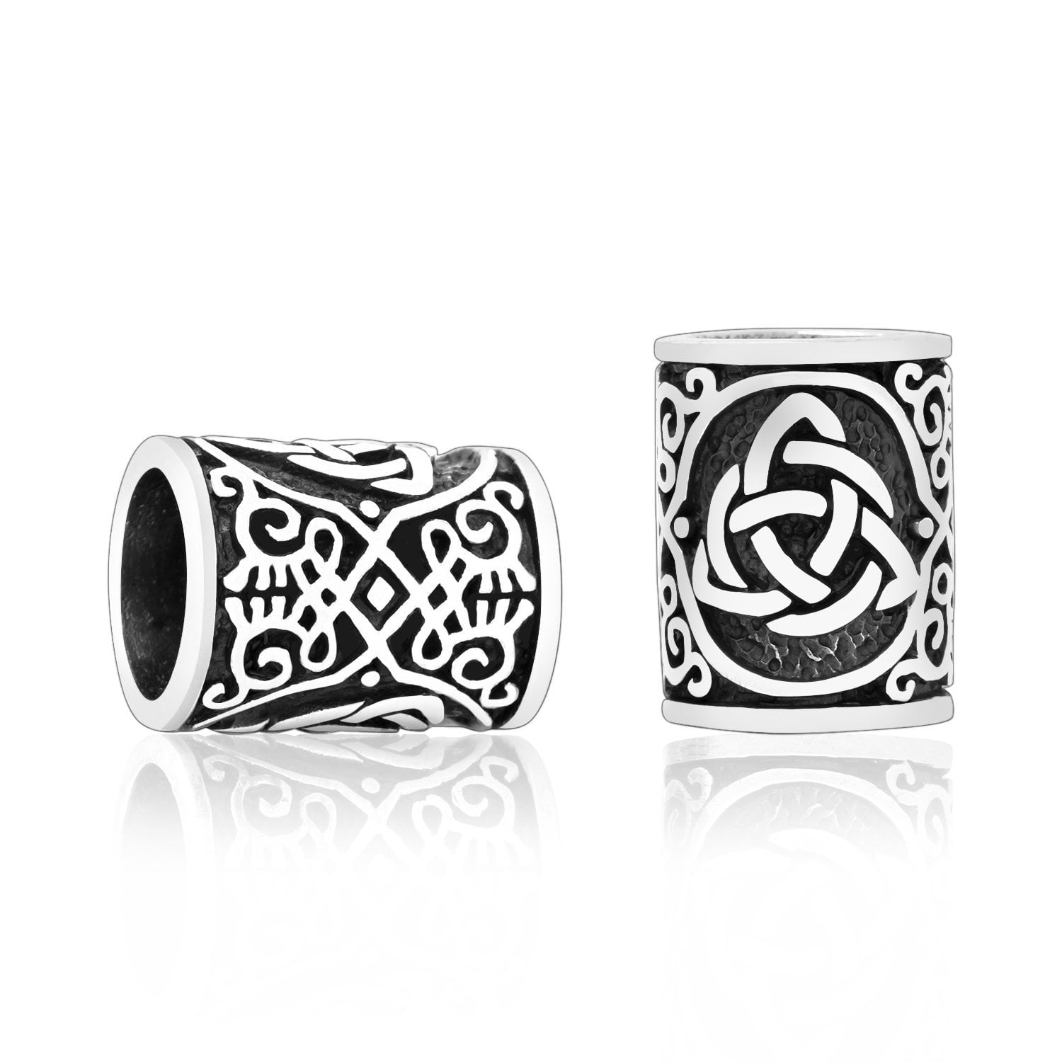 Sterling Silver Viking Beard Bead with Triquetra and Celtic Knotwork