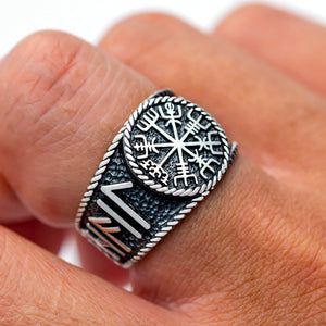 925 Sterling Silver Viking Vegvisir with Runes Ring
