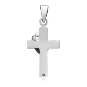 925 Sterling Silver Floral Cross Rosicrucian Pendant