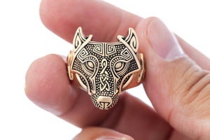 Viking Wolf Head Ring Handcrafted from Bronze