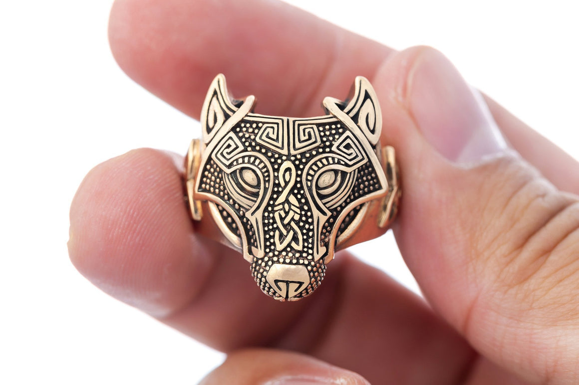 Handcrafted Bronze Viking Wolf Fenrir Head Norse Celtic Triquetra Ring