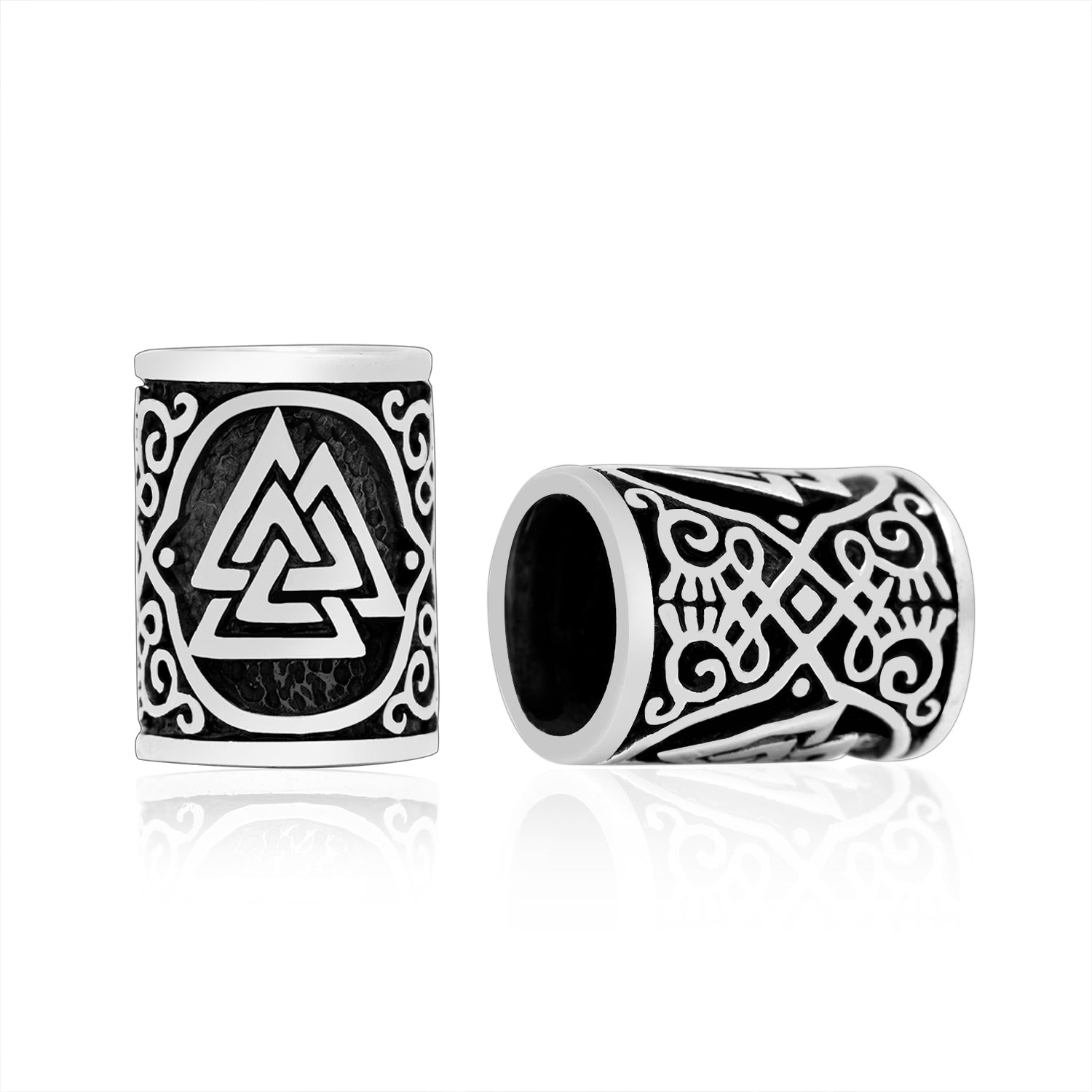 925 Sterling Silver Viking Beard Hair Bead with Valknut