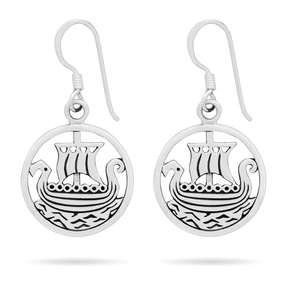 925 Sterling Silver Viking Ship Longboat Earrings