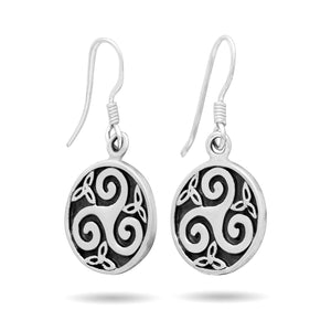 925 Sterling Silver Celtic Triskele Triskelion Dangle Earrings Set