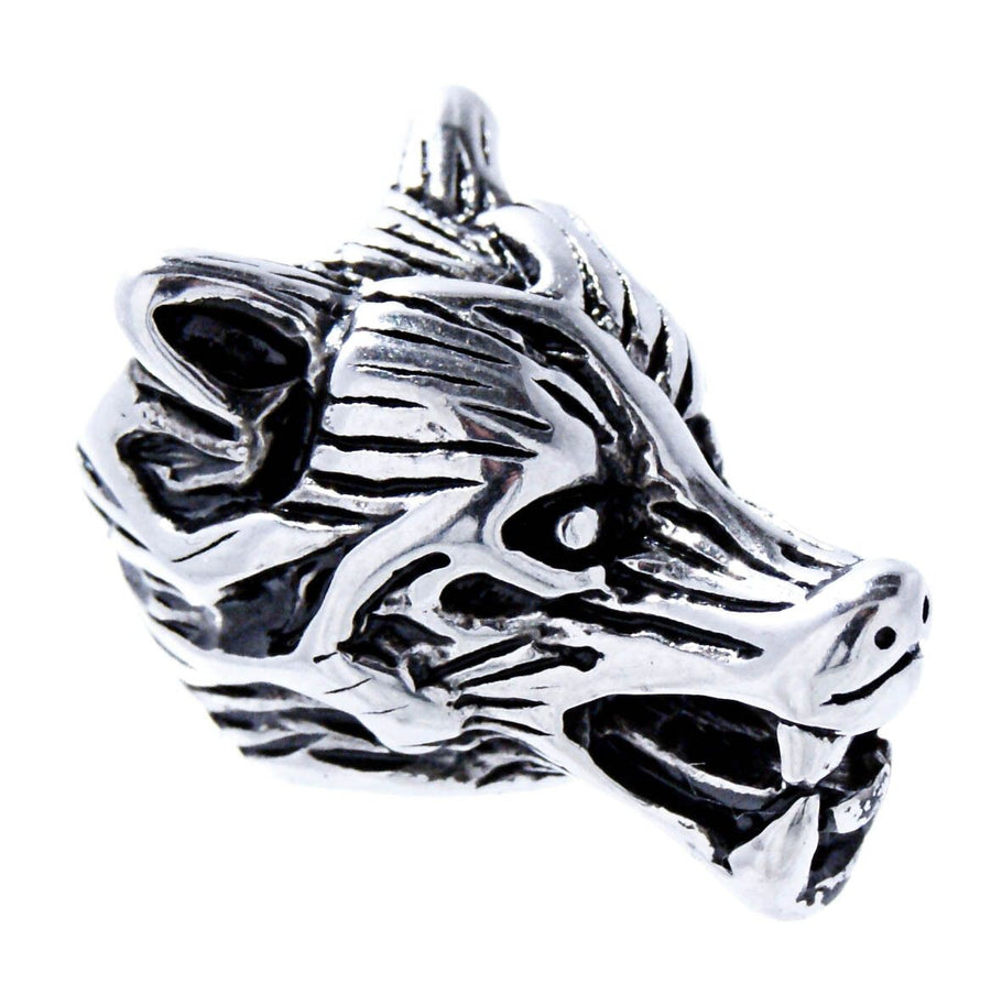 925 Sterling Silver Norse Viking Wolf Fenrir Head Beard Hair Bead Pagan Dreadlocks