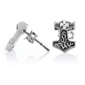 925 Sterling Silver Viking Thor Hammer Mjolnir Stud Earrings Set - SilverMania925