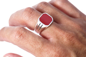 925 Sterling Silver Mens Carnelian Classic Band Ring
