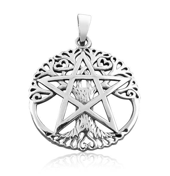 925 Sterling Silver Cut Out Tree Of Life Pentacle Pentagram Pagan Wiccan Pendant