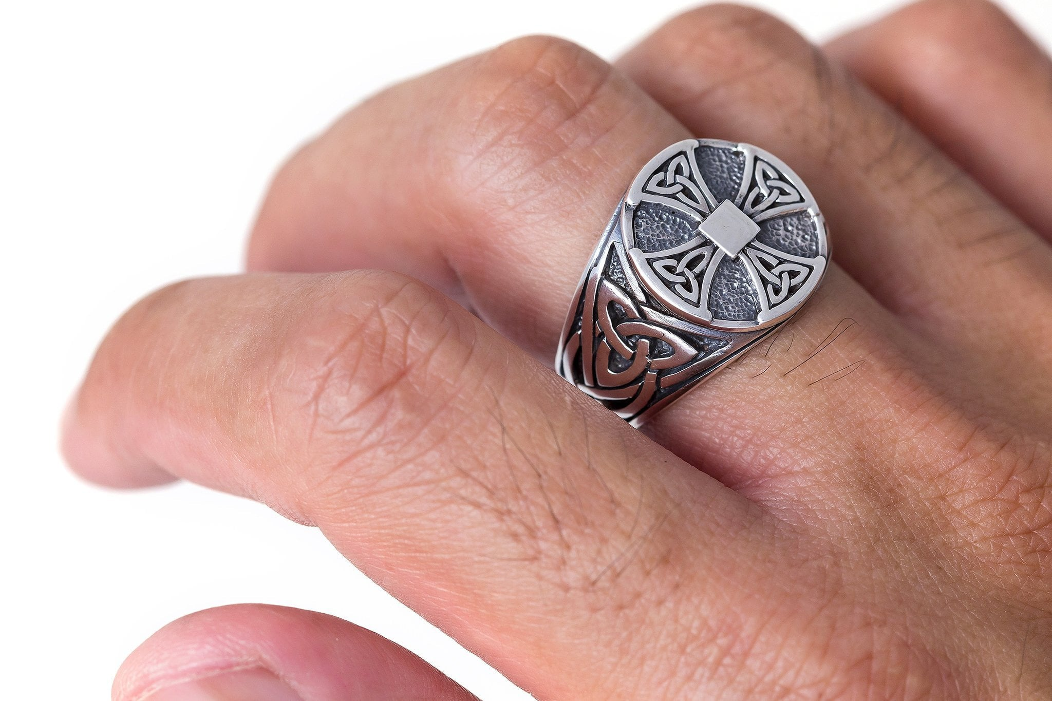 Sterling Silver Celtic Knot Knights Templar Iron Cross Triquetra ...