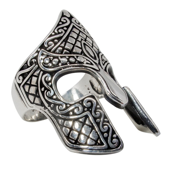 925 Sterling Silver Spartan Helmet Warrior 300 King Leonidas Thermopylae Ring