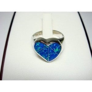 925 Sterling Silver Ring Hawaiian Blue Opal Heart - SilverMania925