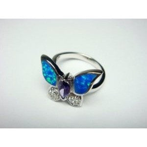 925 Sterling Silver Ring Hawaiian Blue Butterfly Opal & CZ - SilverMania925