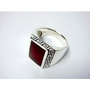 925 Sterling Silver Men's Rectangle Carnelian Greek Key Ring - SilverMania925