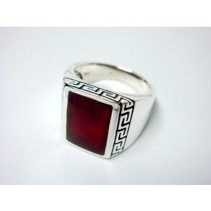 925 Sterling Silver Men's Rectangle Carnelian Greek Key Ring