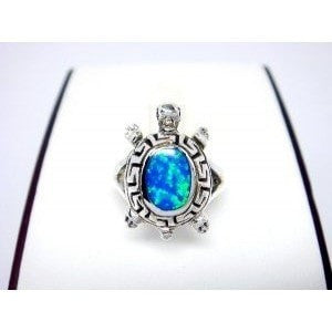 925 Sterling Silver Hawaiian Blue Opal Turtle Greek Key Ring - SilverMania925