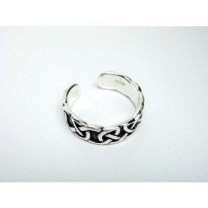 925 Sterling Silver Celtic Oxidized Adjustable Toe Ring - SilverMania925