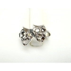 925 Sterling Silver Comedy Tragedy Mask Adjustable Pinky Toe Ring