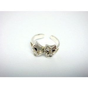 925 Sterling Silver Comedy Tragedy Mask Adjustable Pinky Toe Ring - SilverMania925