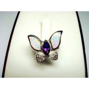 92Sterling Silver Ring Butterfly White Opal & CZ