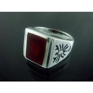925 Sterling Silver Mens Carnelian Engraved Scorpion Zodiac Ring - SilverMania925