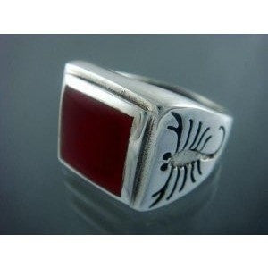 925 Sterling Silver Mens Carnelian Big Scorpion Zodiac Art Ring