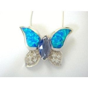925 Sterling Silver Hawaiian Blue Opal CZ Butterfly Pendant - SilverMania925