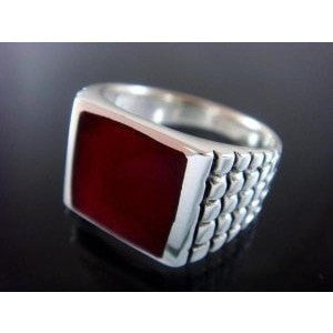925 Sterling Silver Men's Square Carnelian Engraved Sides Ring 12gr - SilverMania925