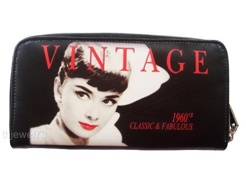 Audrey Hepburn Red Lip Vintage Credit Card Money ID Holder Wallet Purse Bag