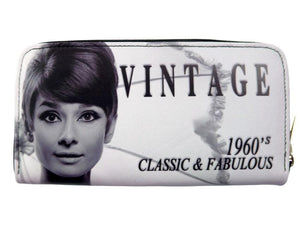 Audrey Hepburn Vintage Classic Credit Card Money ID Holder Wallet Purse Bag - SilverMania925