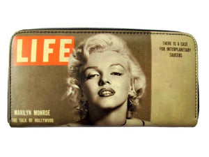 Marilyn Monroe Vintage Tea Stained USA American Flag Money Case ID Holder Wallet Purse