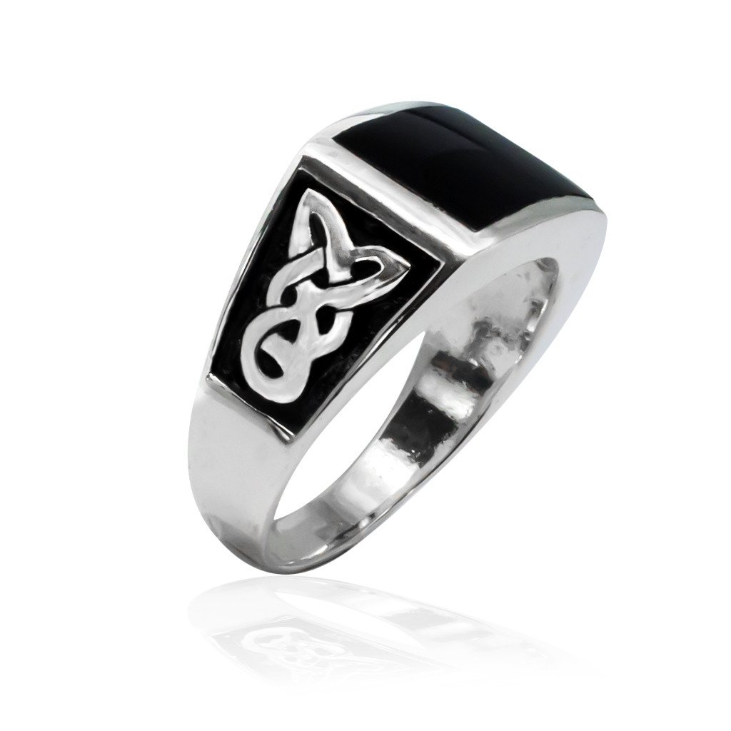 925 Sterling Silver Men's Rectangle Onyx Celtic Knot Pattern Ring