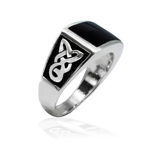 925 Sterling Silver Men's Rectangle Onyx Celtic Knot Pattern Ring - SilverMania925
