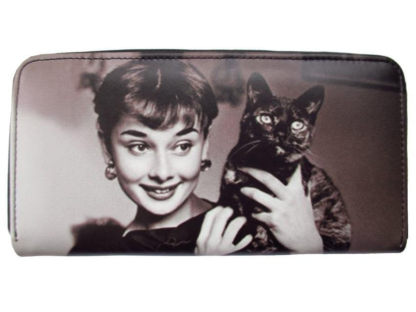 Audrey Hepburn Holding Black Cat Credit Card Money Case Wallet Purse - SilverMania925