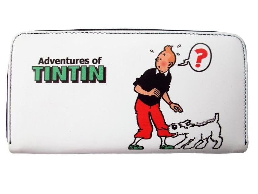 TINTIN Snowy Cartoon Credit Card Money ID Holder White Wallet Purse Bag