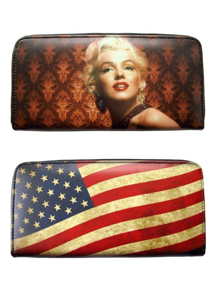 Marilyn Monroe Vintage Tea Stained USA American Flag Money Case ID Holder Travel Wallet
