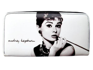 Audrey Hepburn Signature Breakfast at Tiffanys White Wallet Card ID Holder Purse - SilverMania925