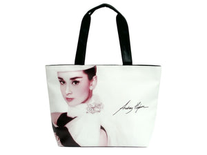Audrey Hepburn Signature Fashion Wide Tote Shoulder Bag Purse - SilverMania925