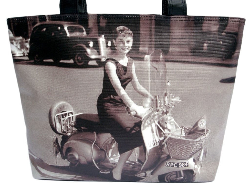 Audrey Hepburn Classic Retro Vespa Wide Tote Shoulder Bag Purse