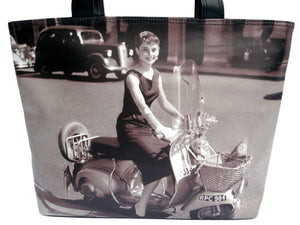 Audrey Hepburn Classic Retro Vespa Wide Tote Shoulder Bag Purse - SilverMania925
