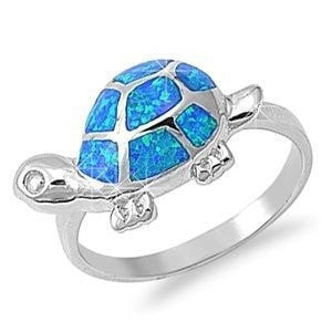 925 Sterling Silver Hawaiian Blue Opal Lucky Turtle Ring - SilverMania925