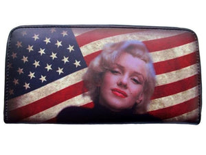 Marilyn Monroe Tea Stained USA Flag Credit Card Money ID Holder Wallet - SilverMania925