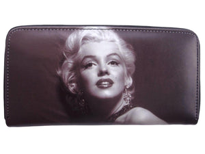 Marilyn Monroe Classic Retro Credit Card ID Money Holder Travel Zip Around Wallet - SilverMania925