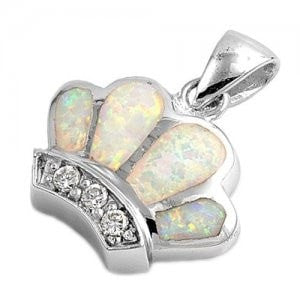 925 Sterling Silver Queen Crown White Opal CZ Charm Pendant - SilverMania925